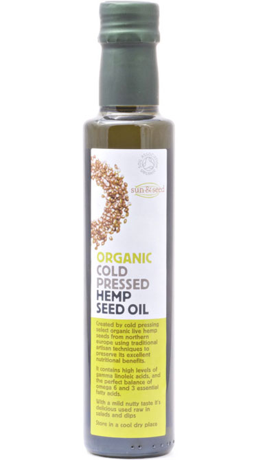 Cold pressed organic hemp seed oil