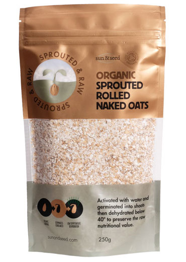 Sprouted raw organic rolled naked oats