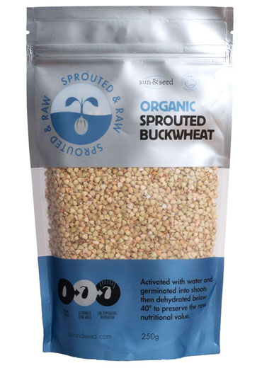 Sprouted raw organic buckwheat